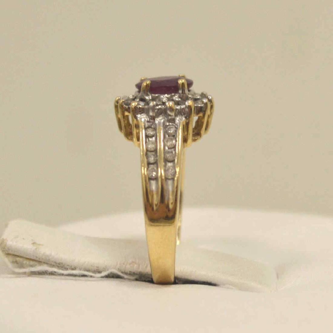 10kt yellow gold ruby and diamond ring - 4