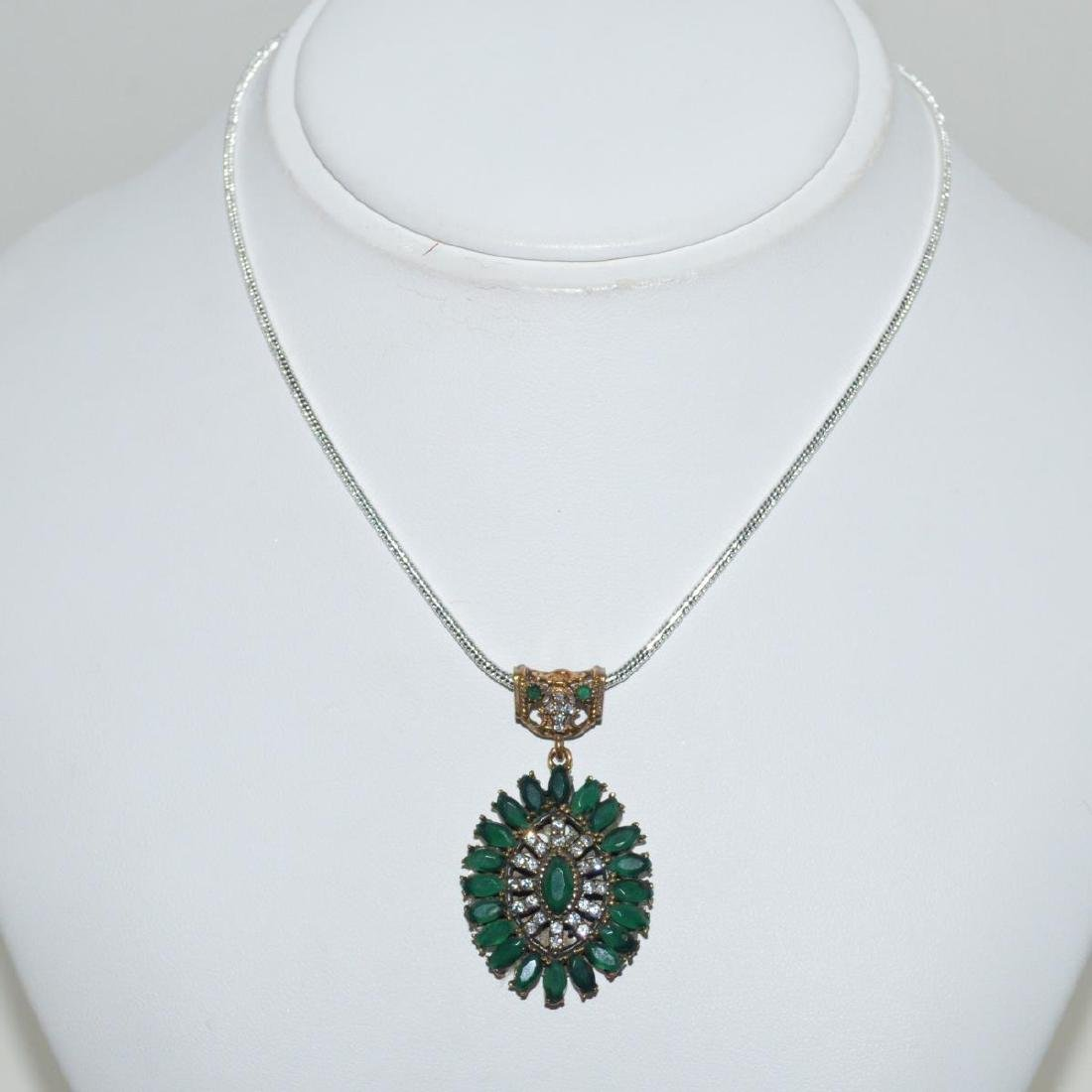 Sterling Silver emerald and CZ necklace