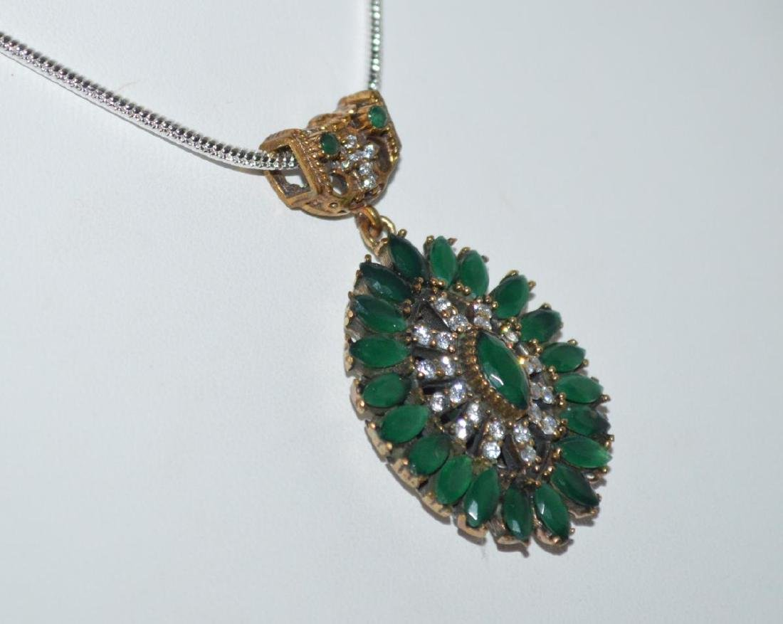 Sterling Silver emerald and CZ necklace - 3