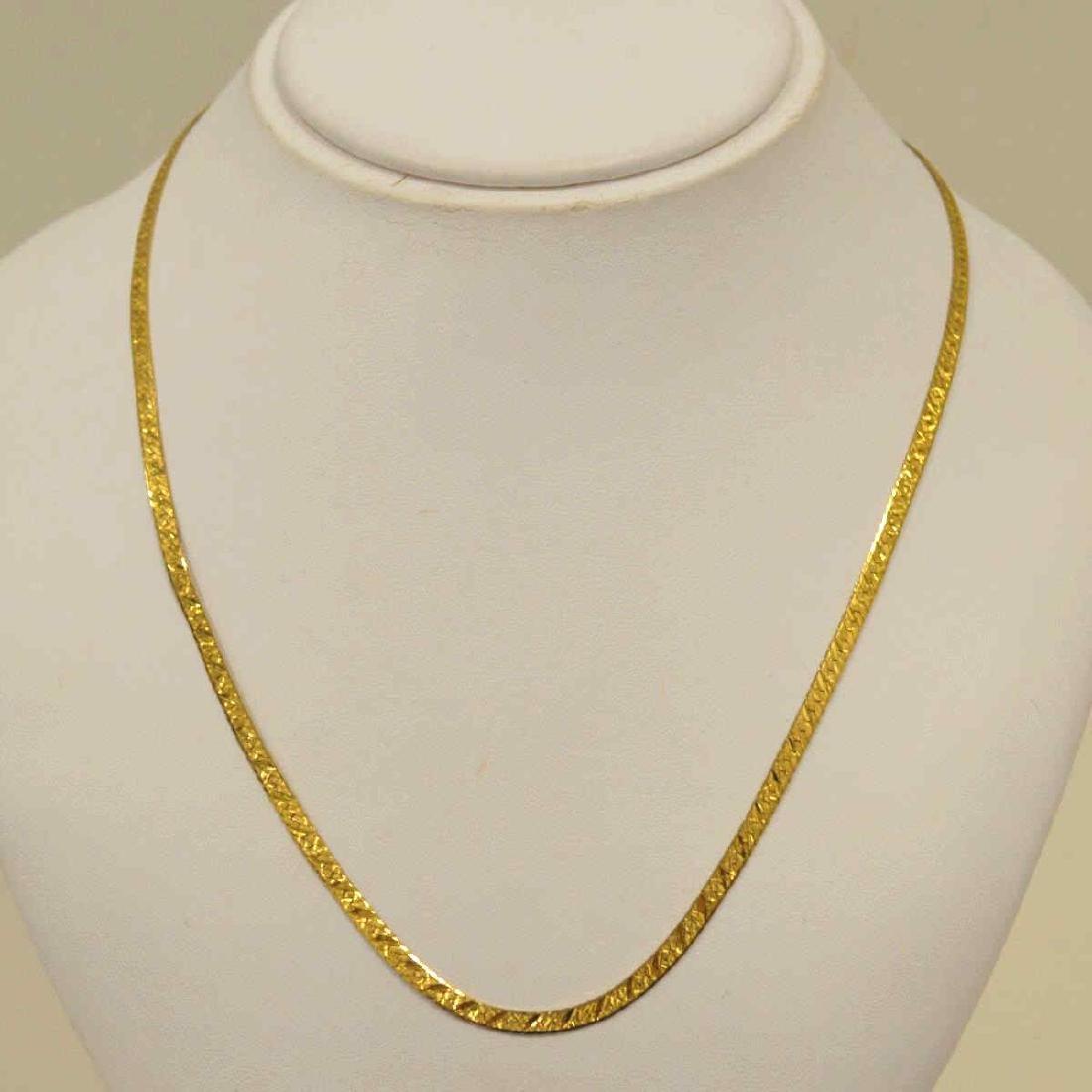 14kt yellow gold herringbone necklace