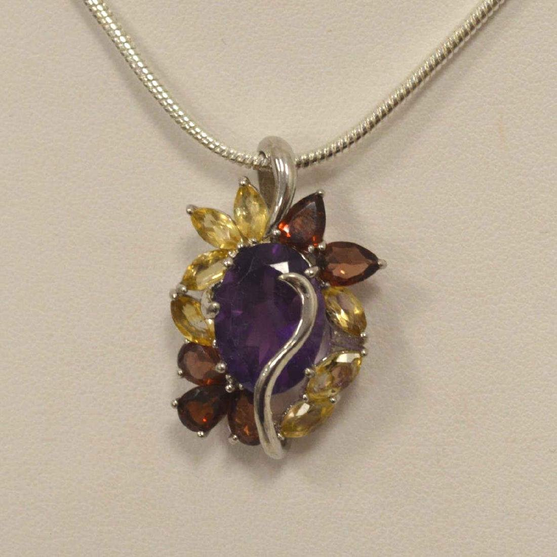 Sterling amethyst, citrine, and garnet pendant - 2