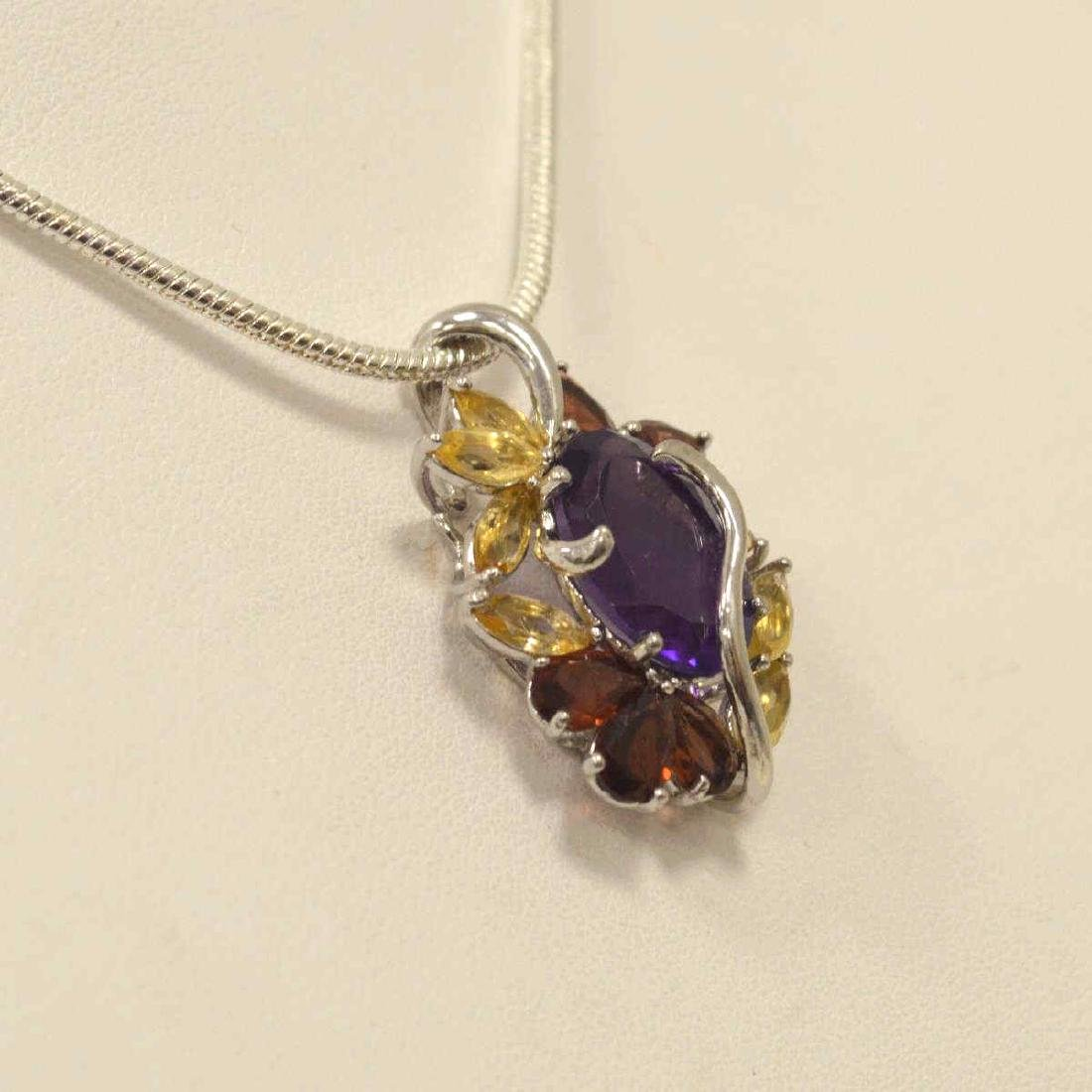 Sterling amethyst, citrine, and garnet pendant - 3