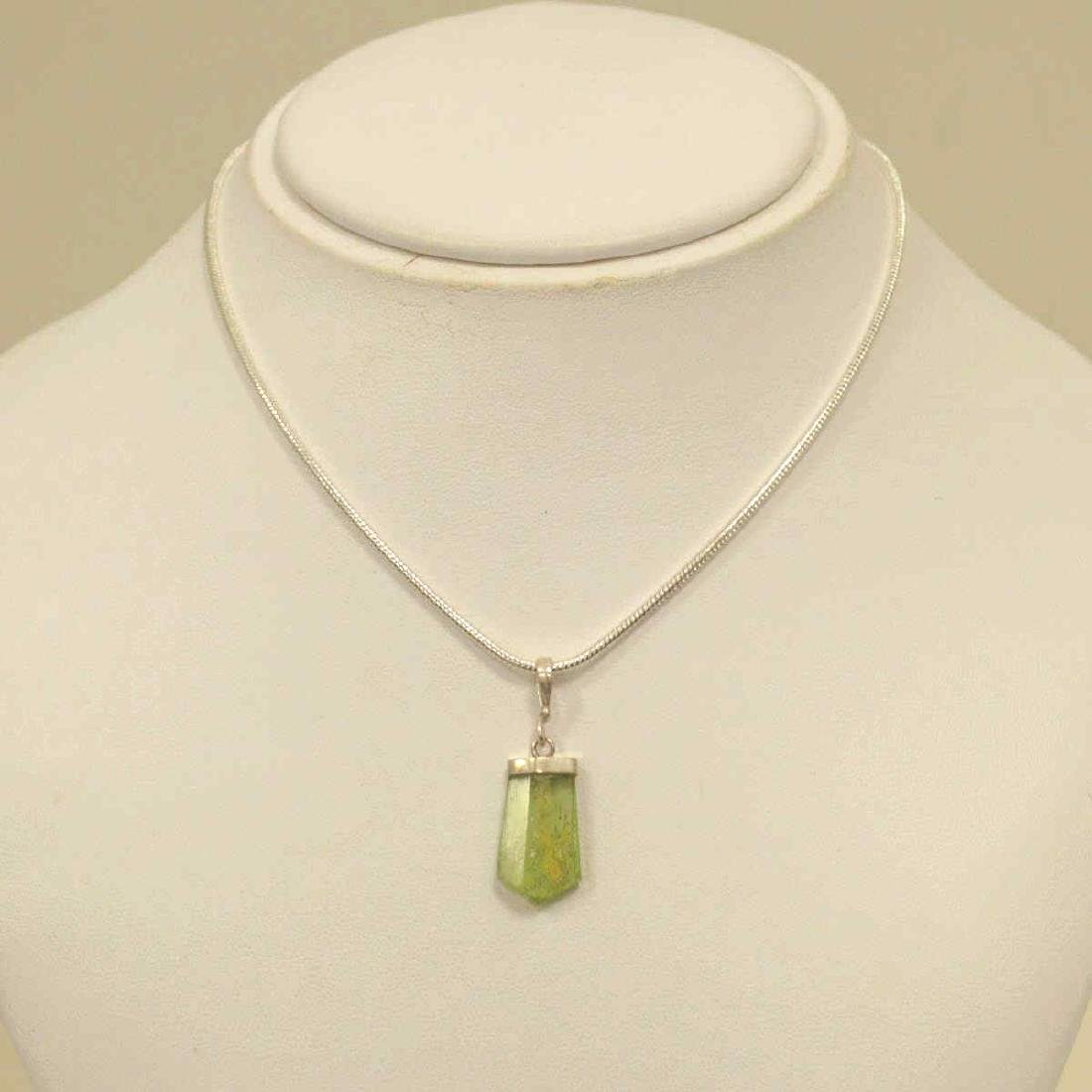 Sterling Silver Peridot Crystal Pendant
