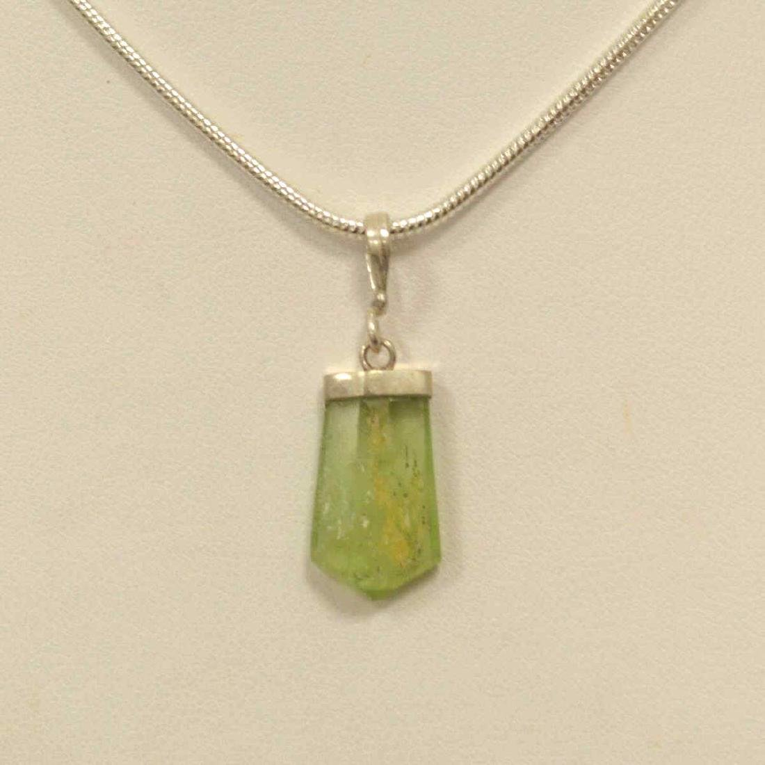 Sterling Silver Peridot Crystal Pendant - 2