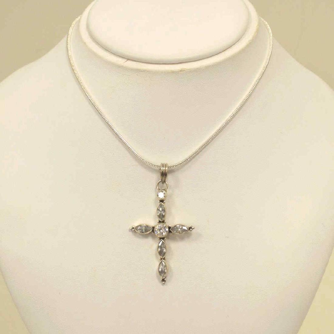 Sterling Silver White Topaz Cross Pendant