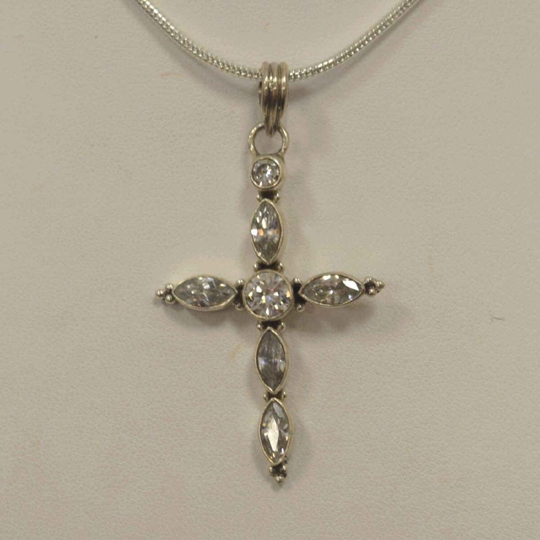 Sterling Silver White Topaz Cross Pendant - 2