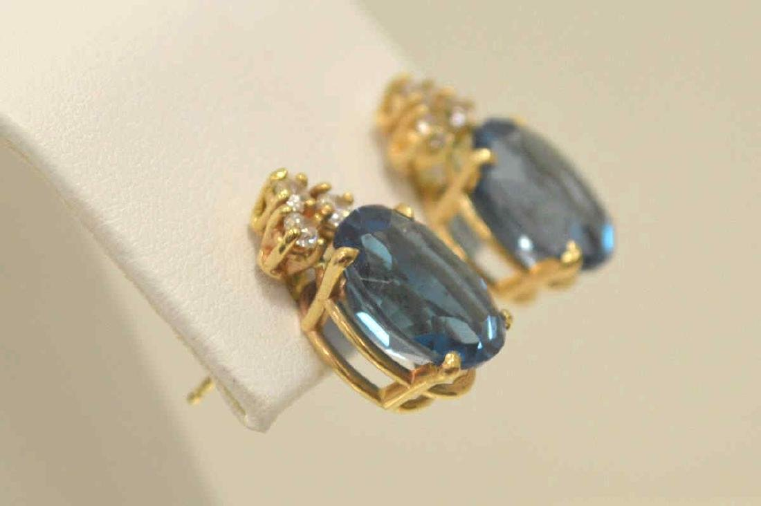 14kt yellow gold blue topaz and diamond earrings - 3