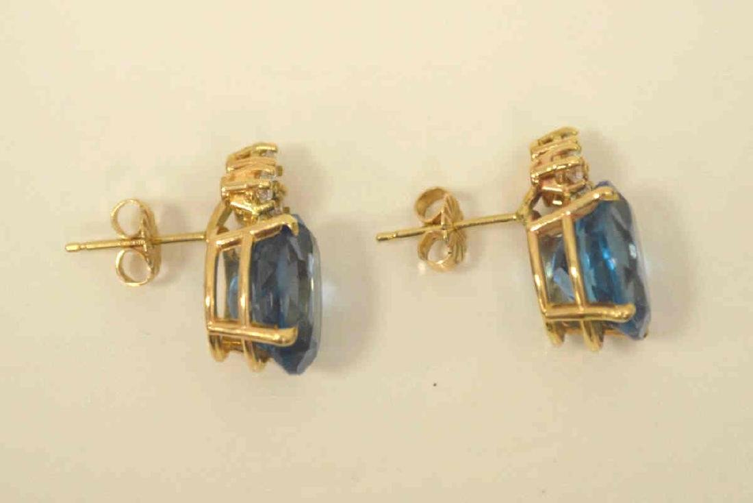 14kt yellow gold blue topaz and diamond earrings - 4