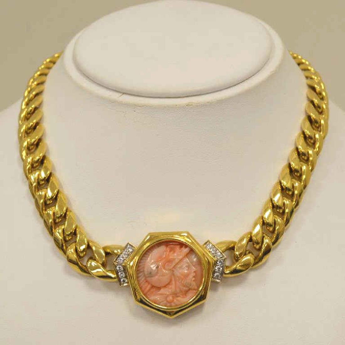 18kt yellow gold carved cameo collar necklace