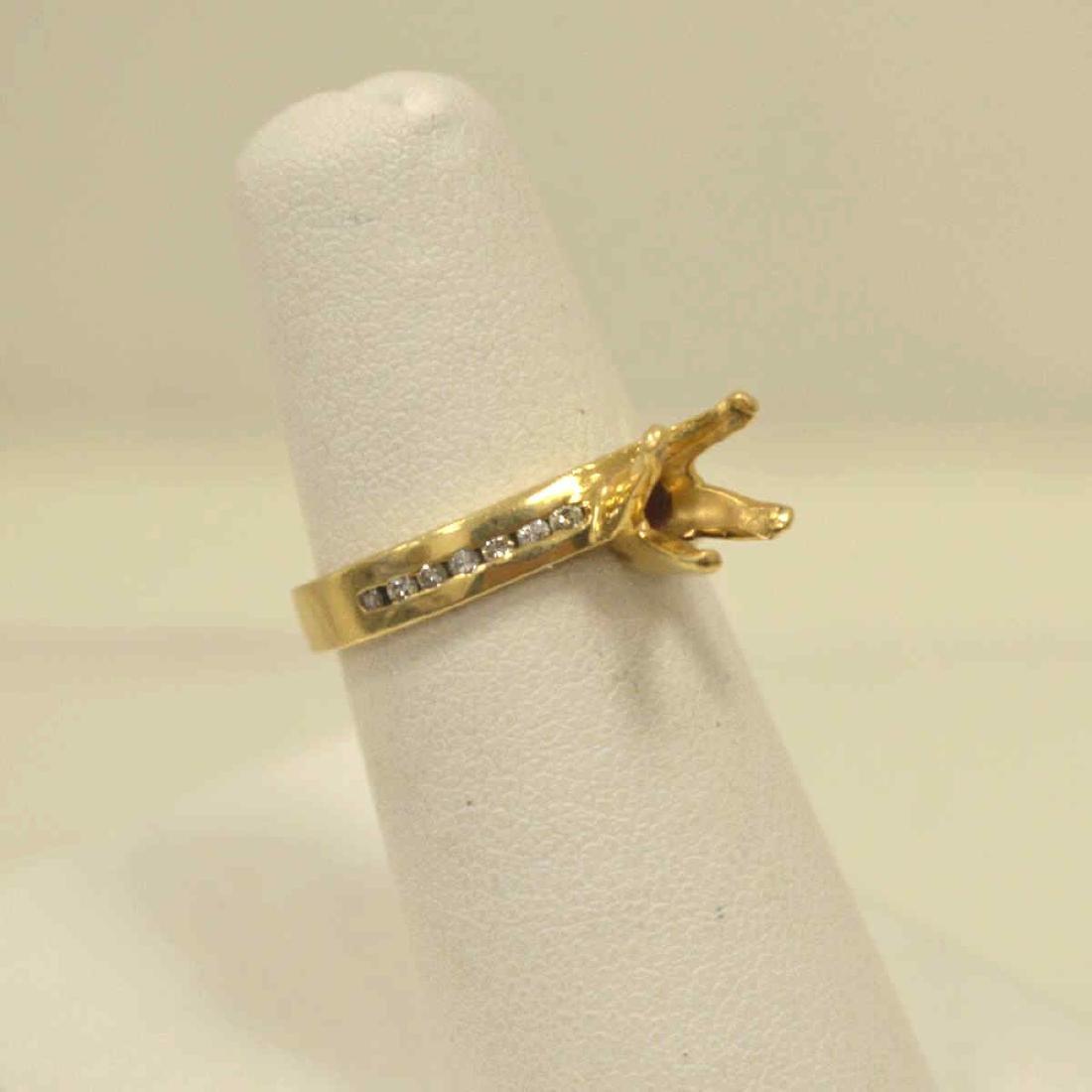 14kt yellow gold diamond semi-mount - 2