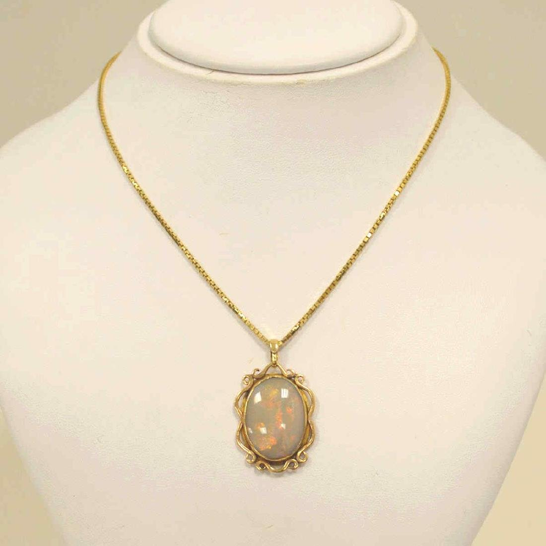 14kt yellow gold opal necklace