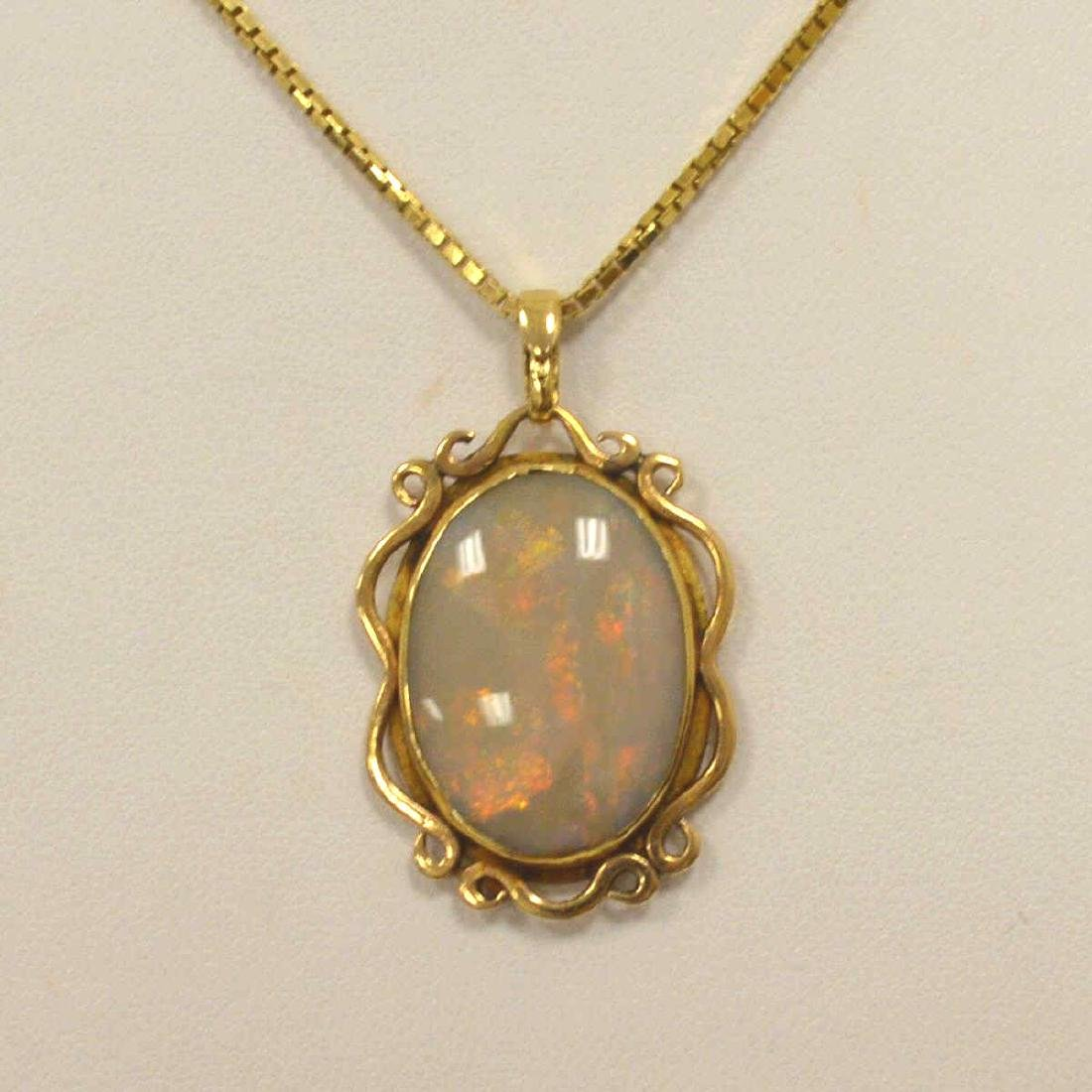 14kt yellow gold opal necklace - 2