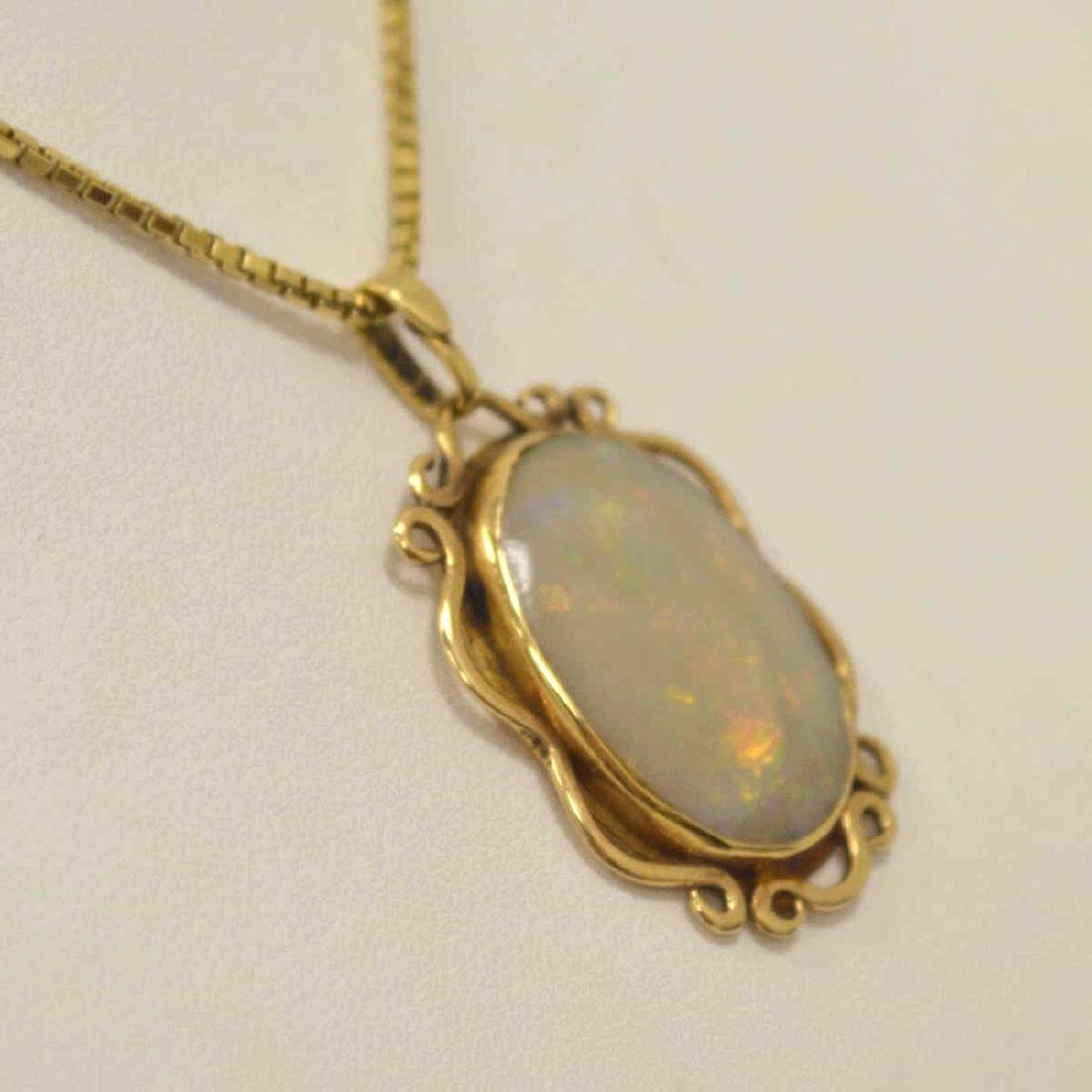 14kt yellow gold opal necklace - 4
