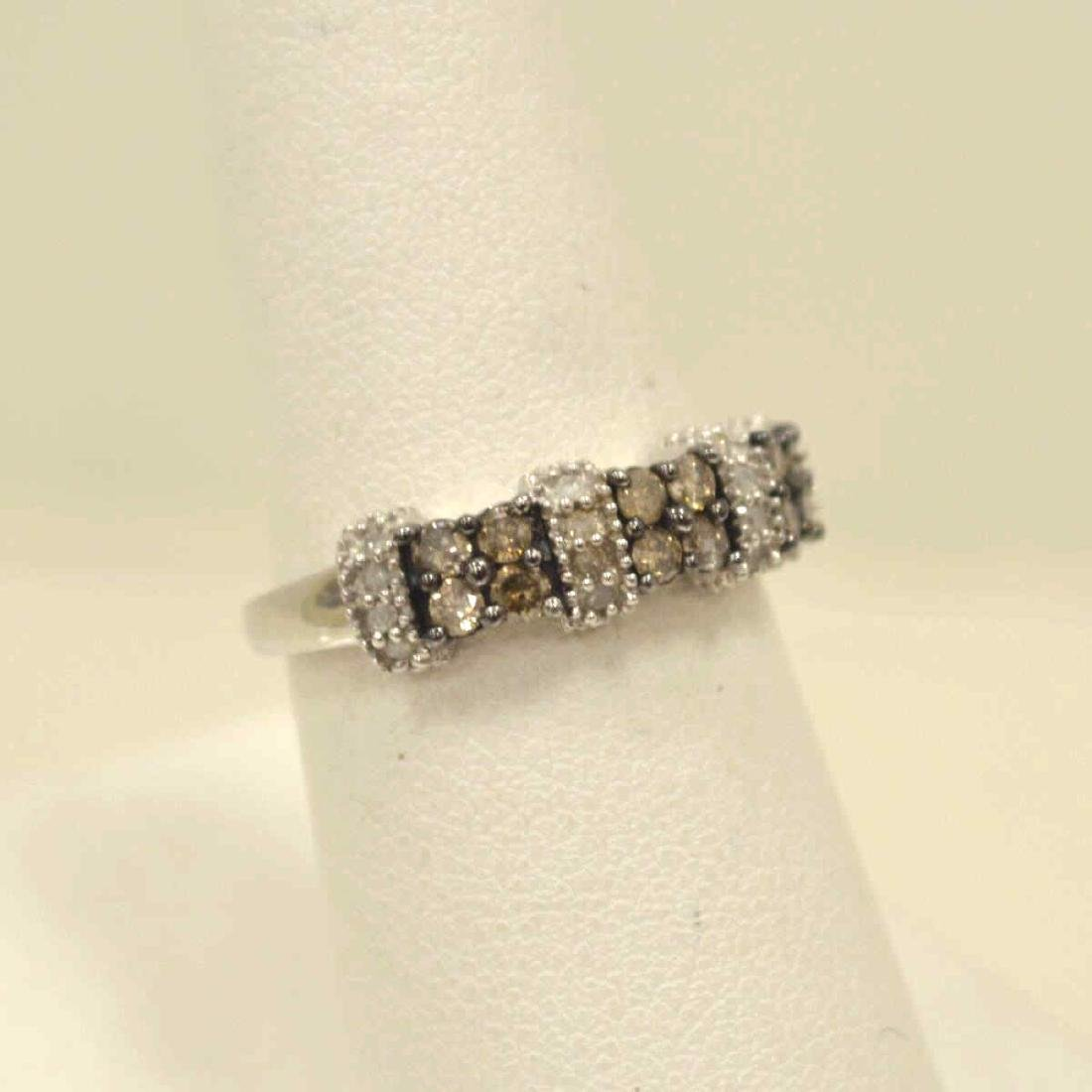 10kt white gold diamond fashion band - 2