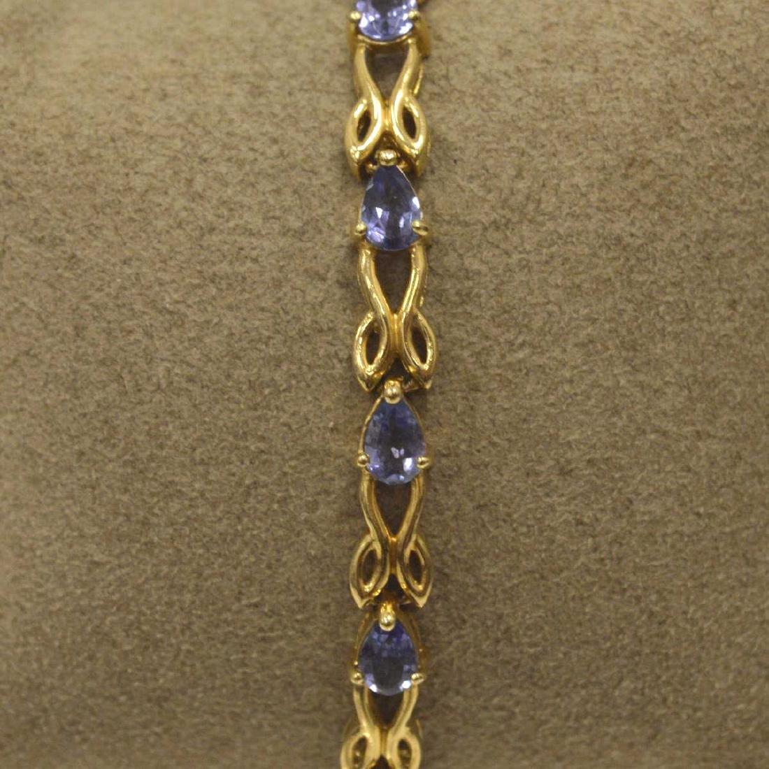 14kt yellow gold tanzanite bracelet - 2