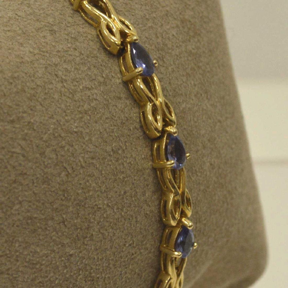 14kt yellow gold tanzanite bracelet - 3