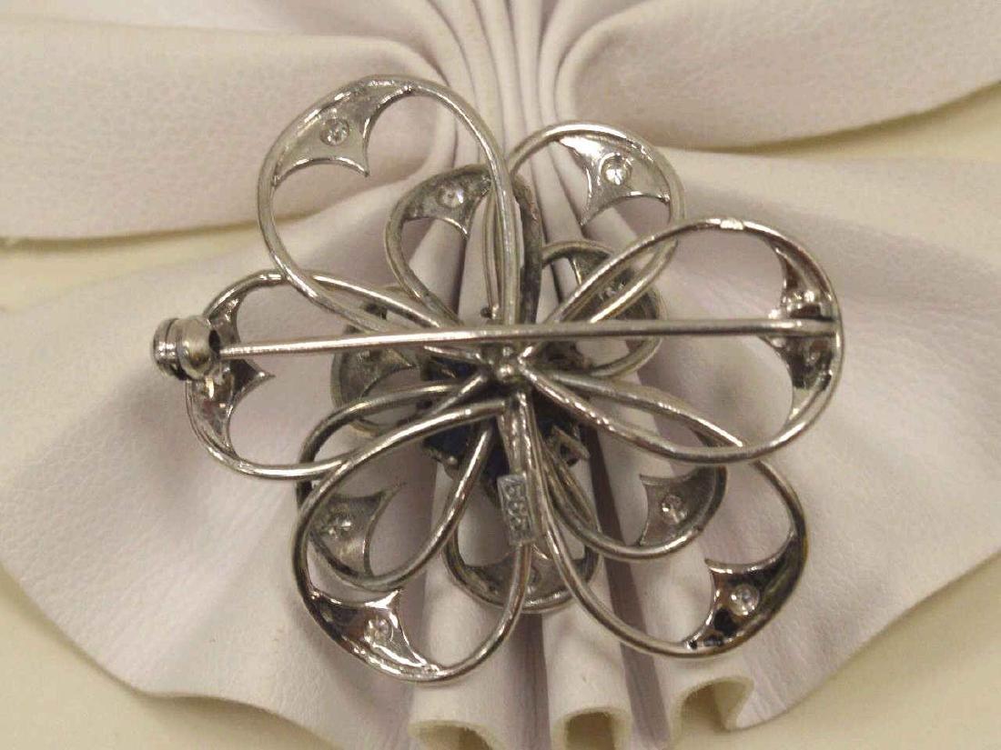 14kt white gold flower pin - 3