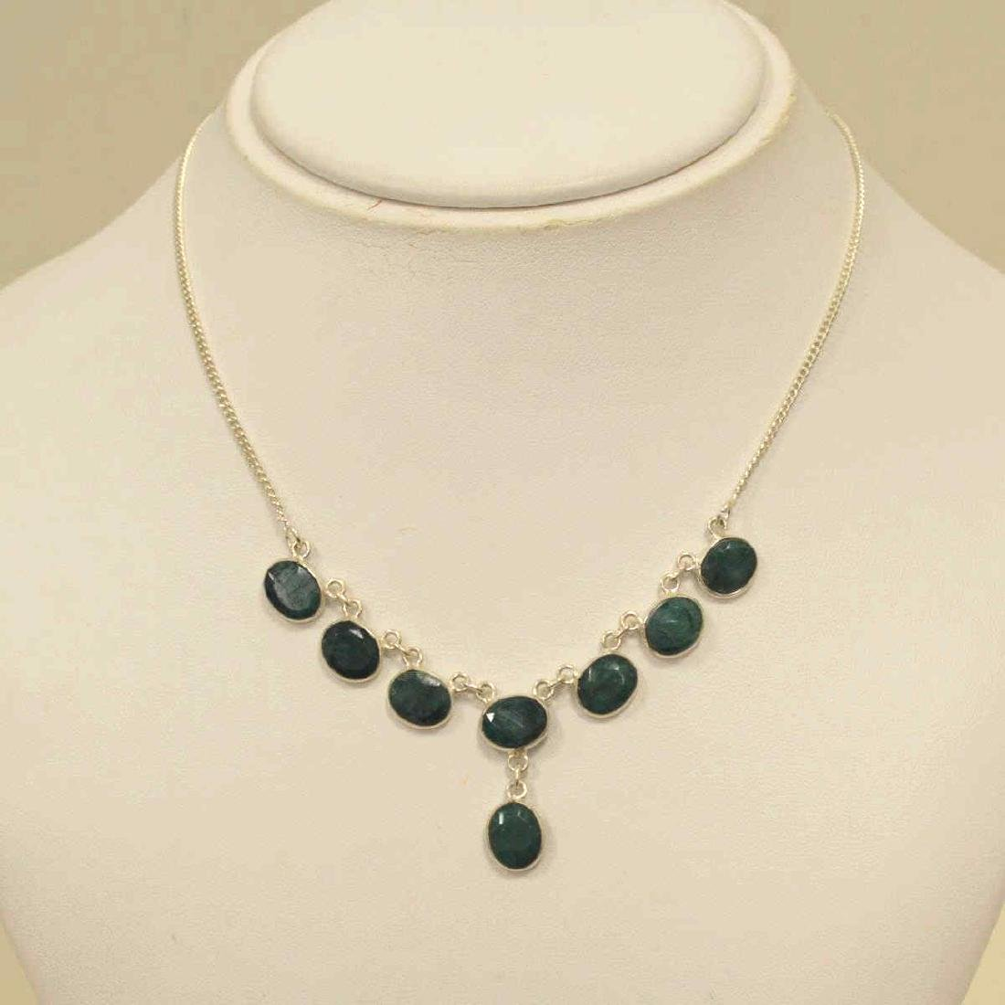 Sterling silver opaque emerald necklace