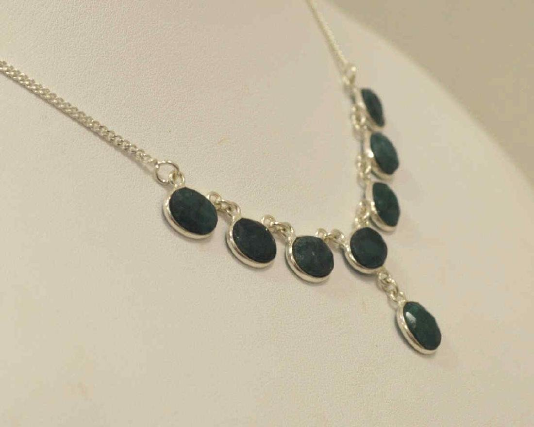 Sterling silver opaque emerald necklace - 4