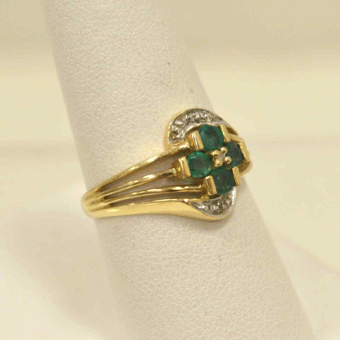10kt yellow gold emerald and diamond ring - 2