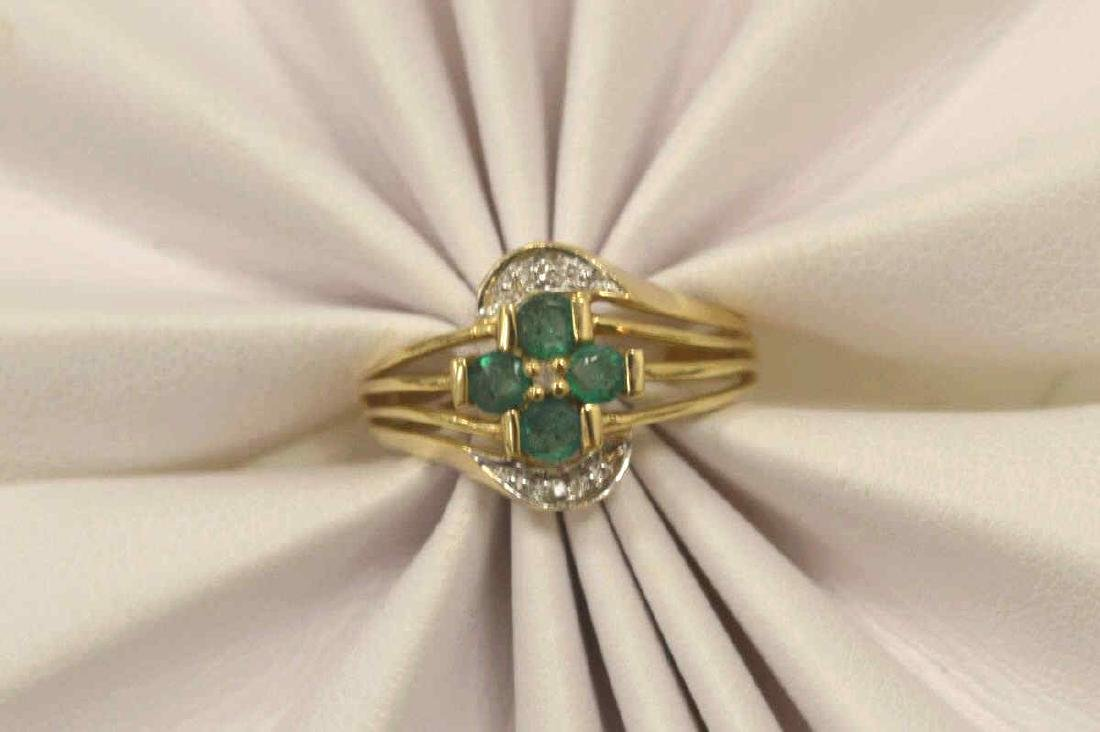 10kt yellow gold emerald and diamond ring - 5