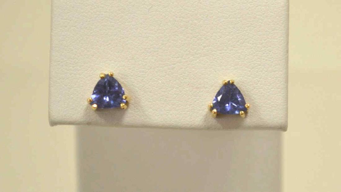14kt yellow gold tanzanite stud earrings