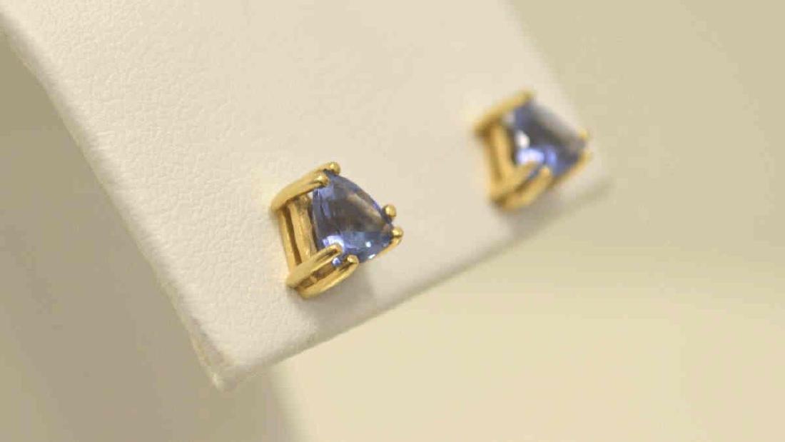 14kt yellow gold tanzanite stud earrings - 2