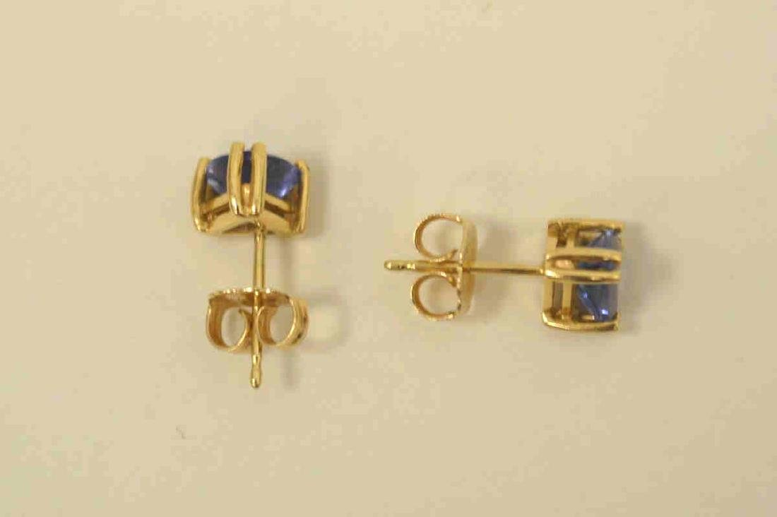 14kt yellow gold tanzanite stud earrings - 3