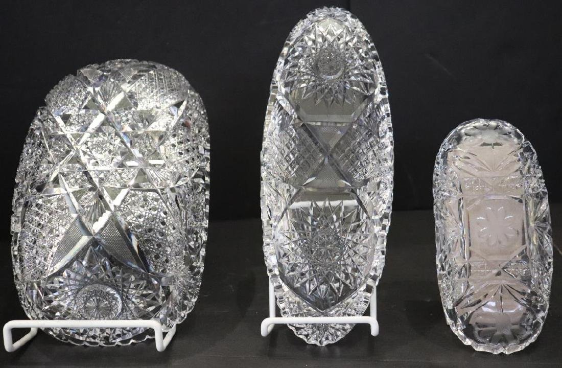 3 Various Sized Crystal Glass Glass Serving Bowls - 3