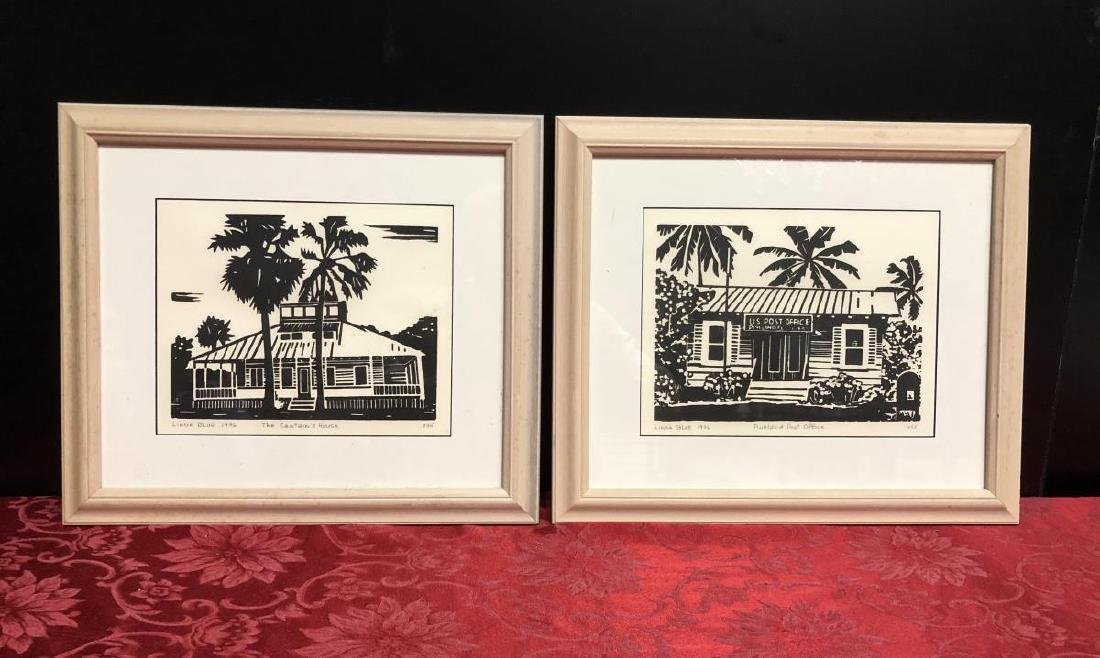 Lot of 2 Framed Pine Island Prints by Linda Blue