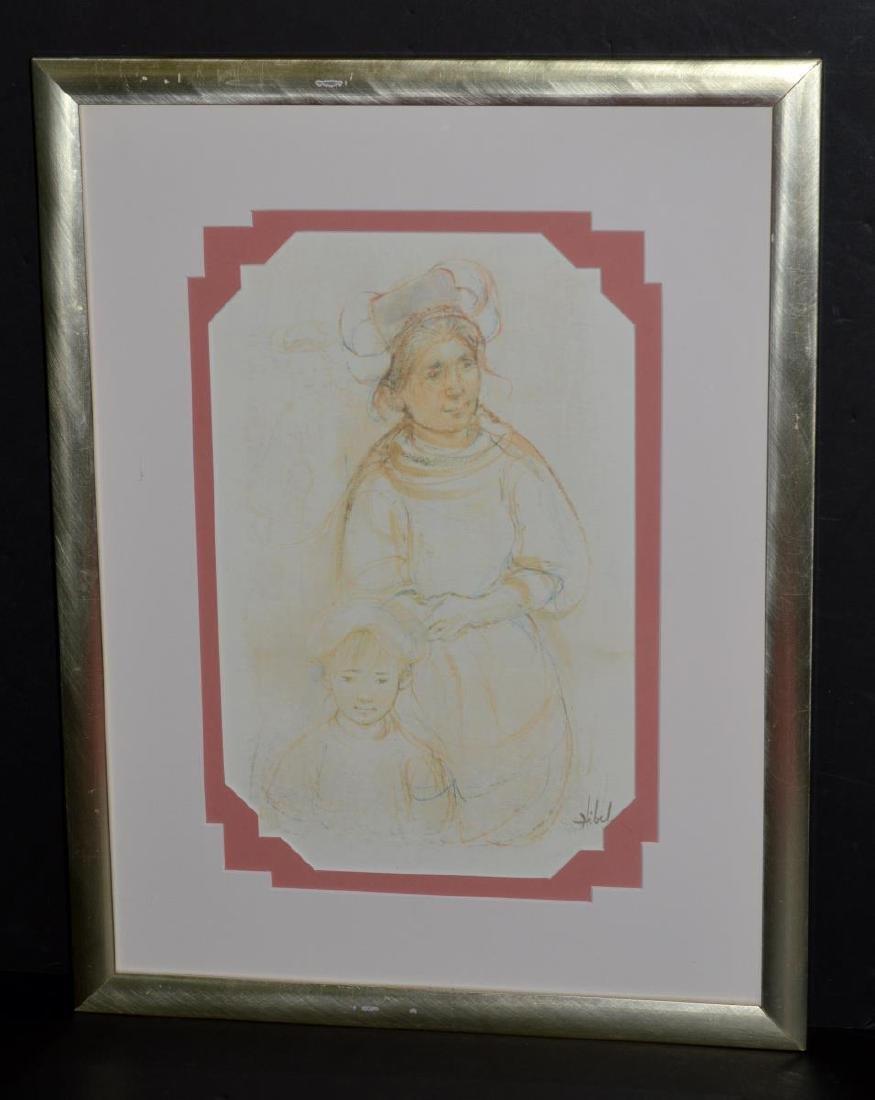 Framed & Signed Edna Hibel Print