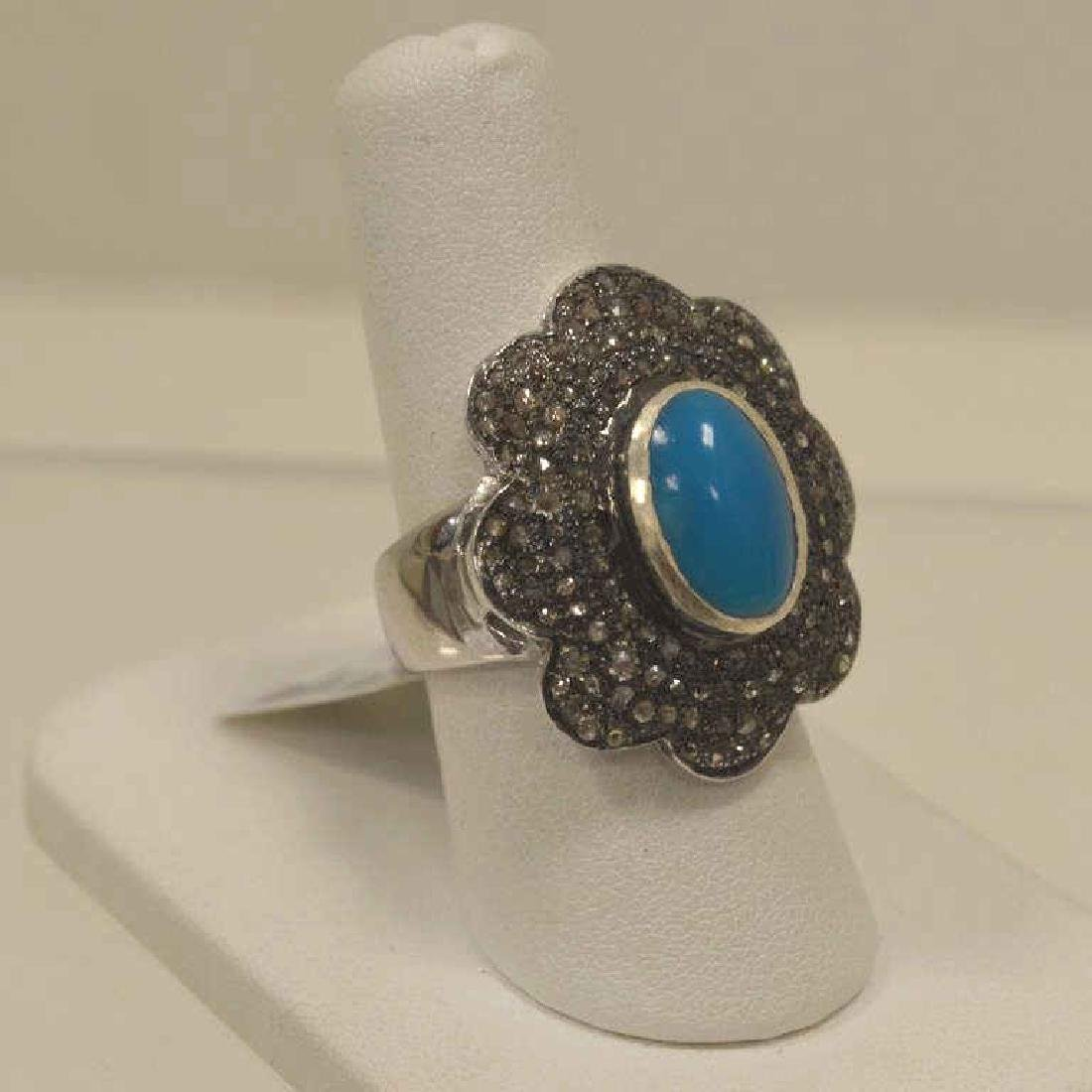 Sterling silver turquoise and diamond fashion ring - 2