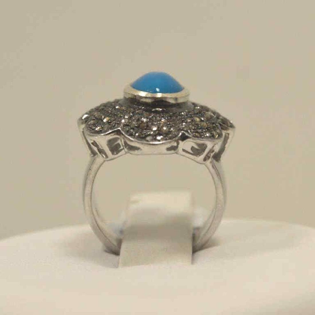 Sterling silver turquoise and diamond fashion ring - 3