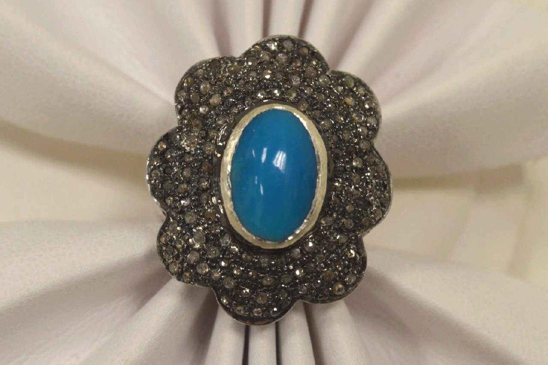 Sterling silver turquoise and diamond fashion ring - 5