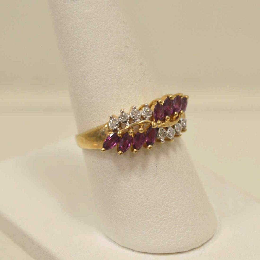 10kt yellow gold ruby and diamond ring - 2