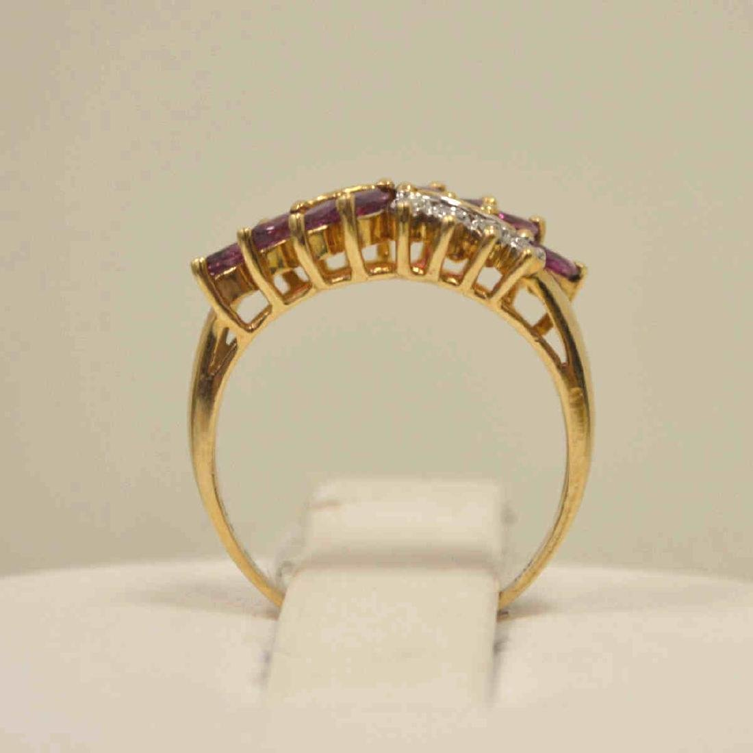 10kt yellow gold ruby and diamond ring - 3