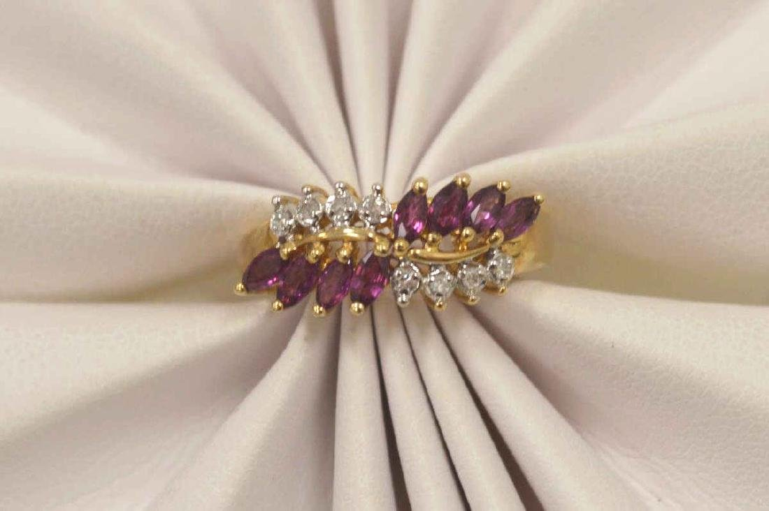 10kt yellow gold ruby and diamond ring - 5
