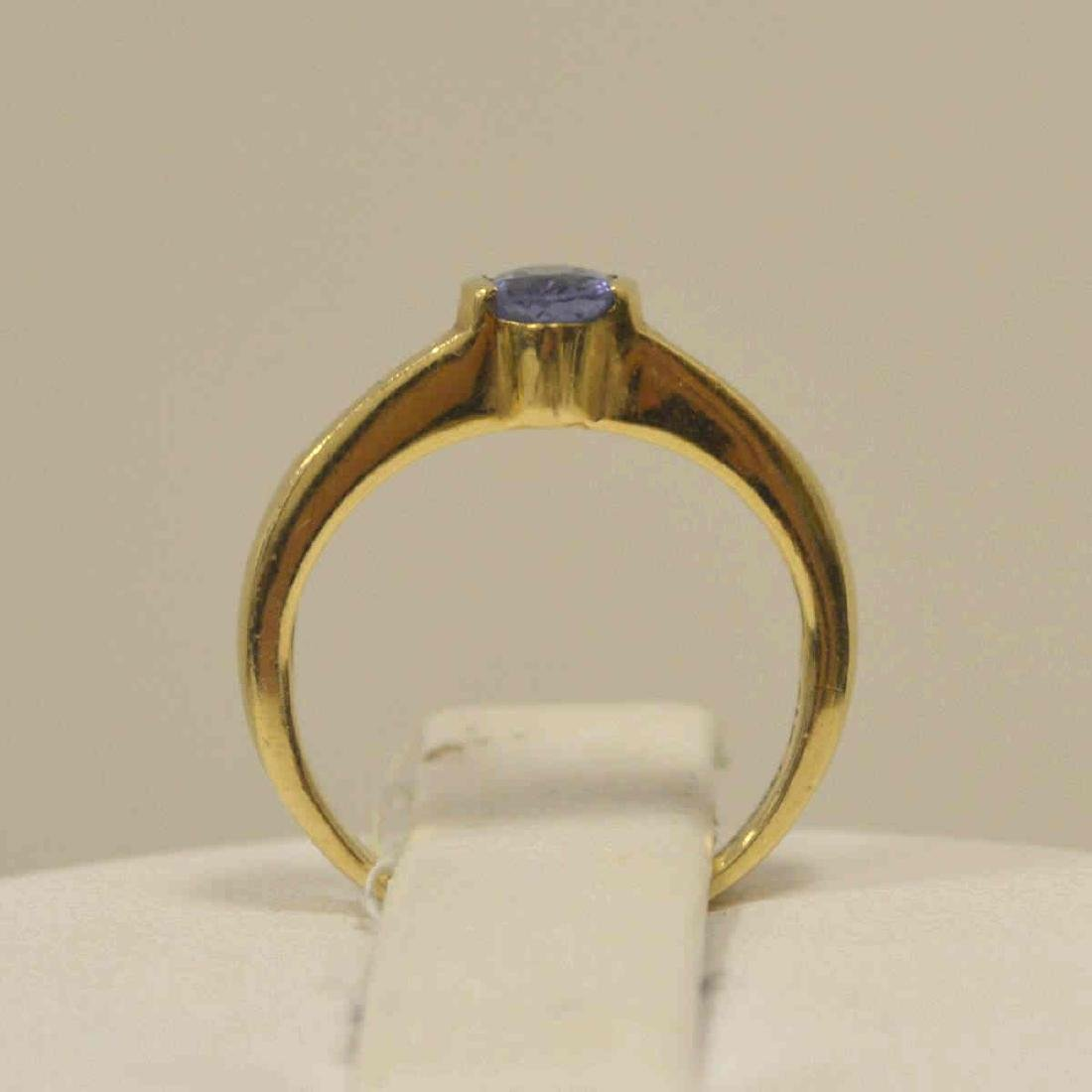 14kt yellow gold tanzanite and diamond ring - 3