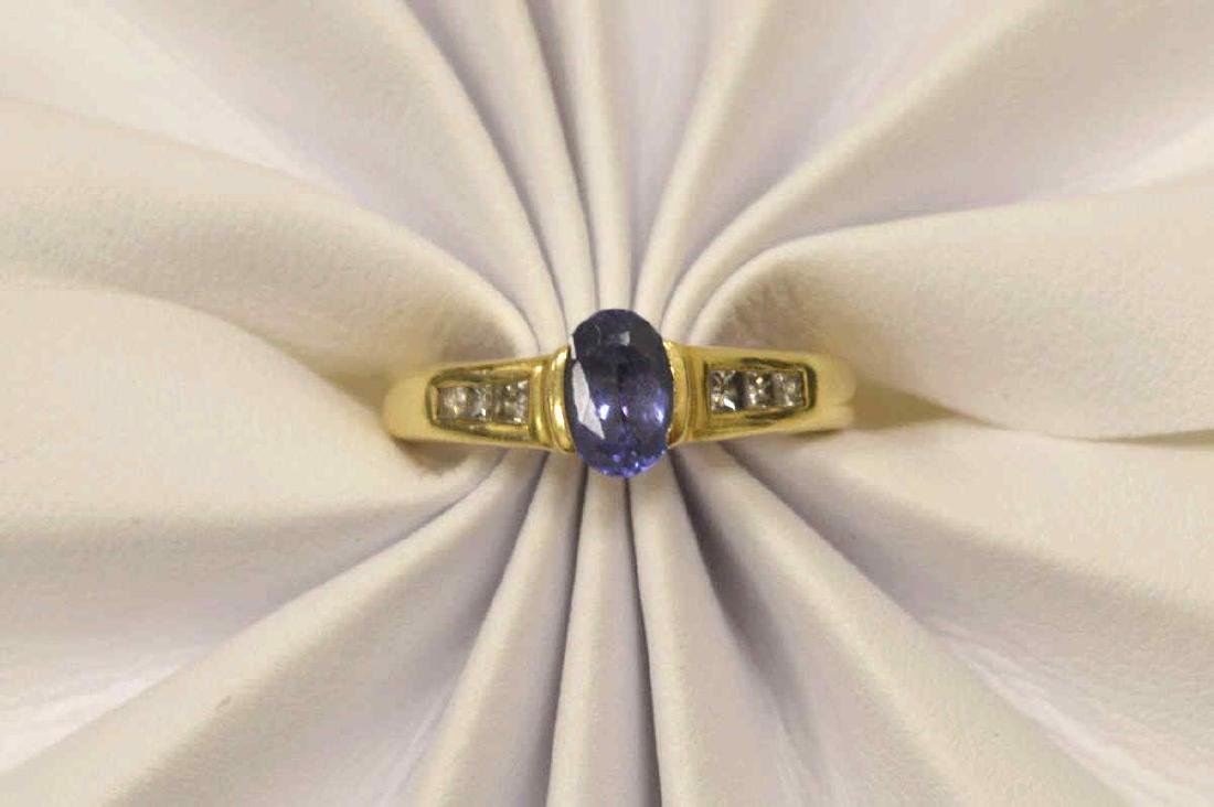 14kt yellow gold tanzanite and diamond ring - 5