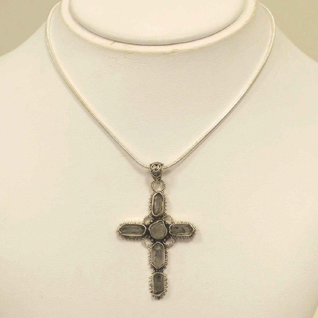 Sterling Silver Herkimer Diamond Cross Necklace