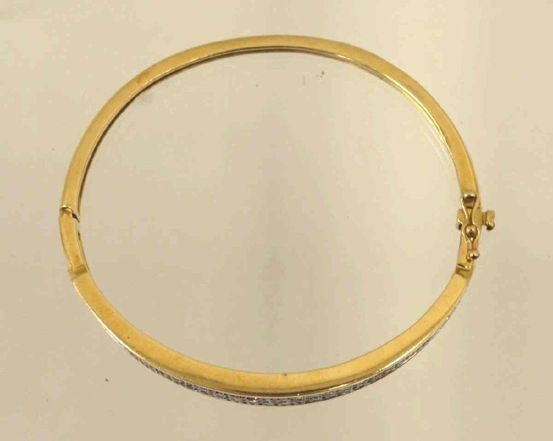 14kt yellow gold diamond bangle bracelet - 3