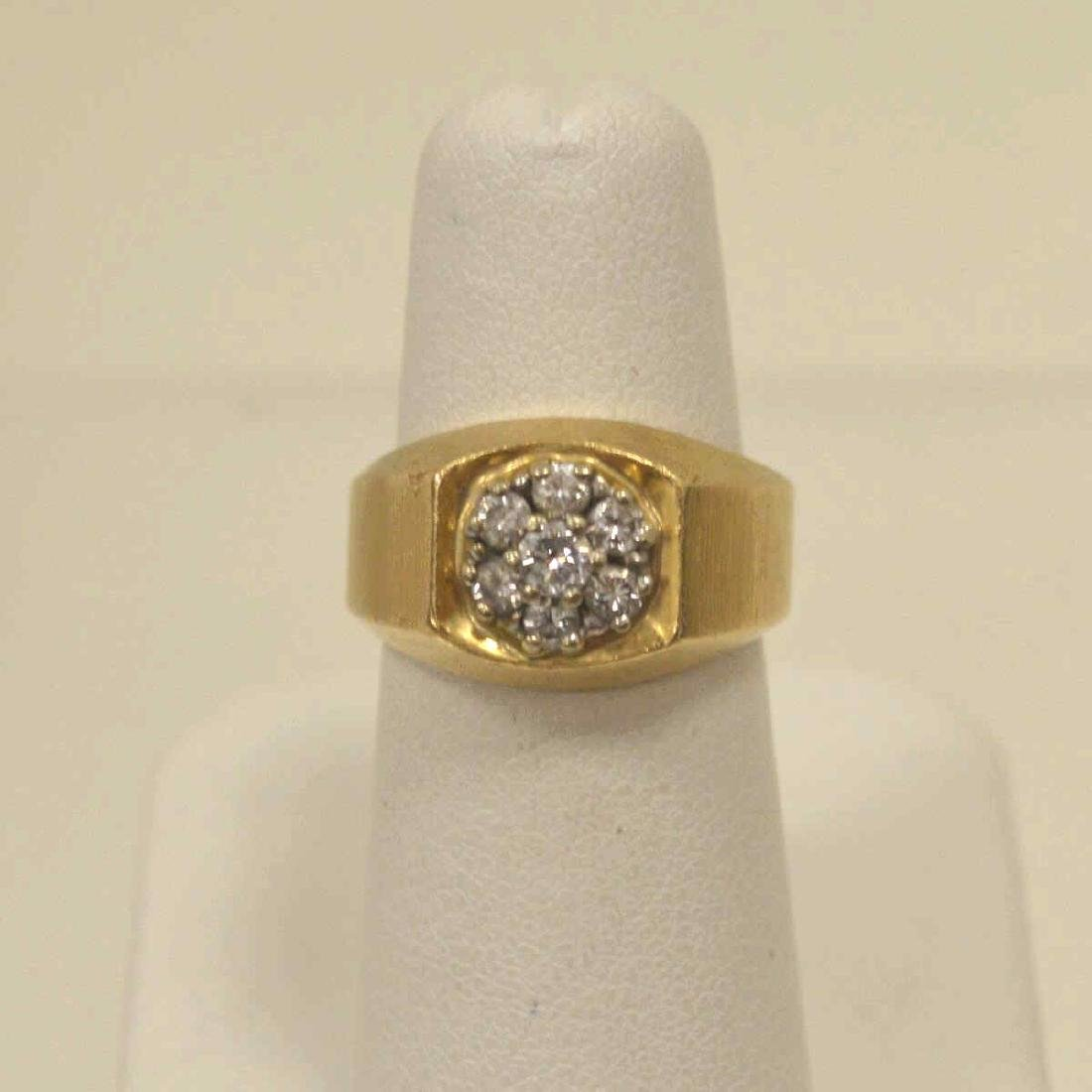 14kt yellow gold diamond cluster ring