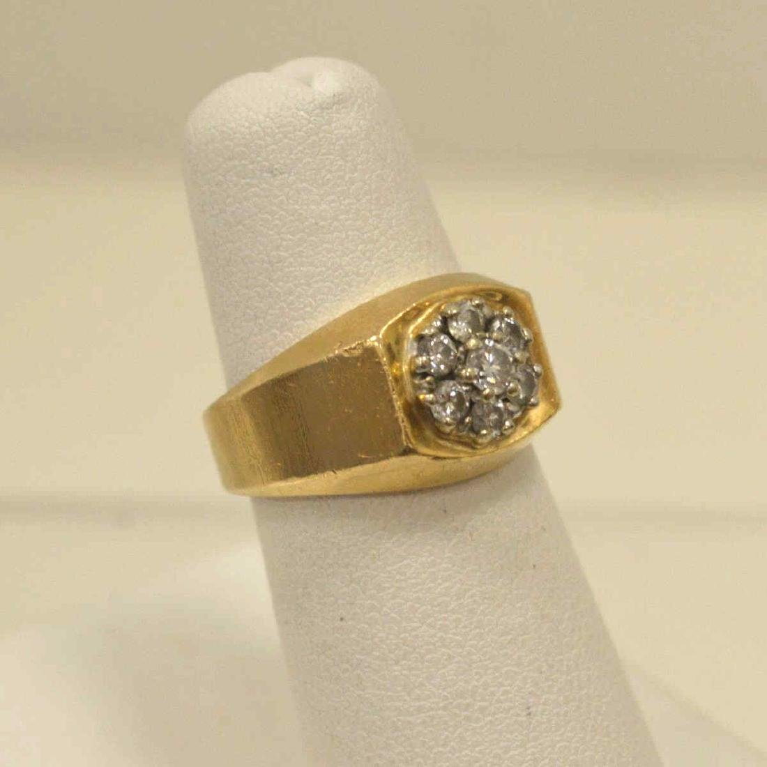14kt yellow gold diamond cluster ring - 2