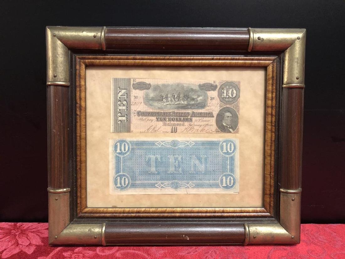 Framed Pair of 1864 $10 Confederate Notes