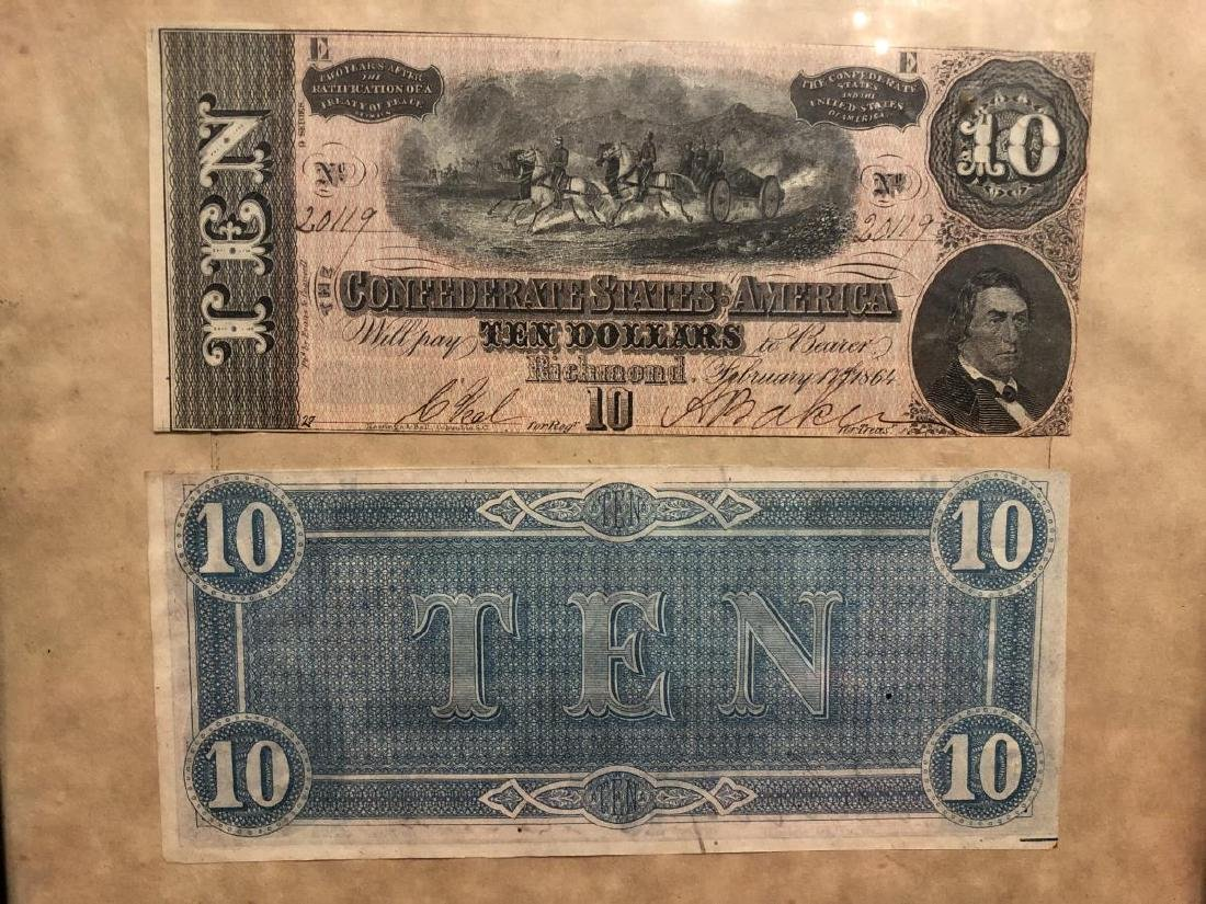 Framed Pair of 1864 $10 Confederate Notes - 2