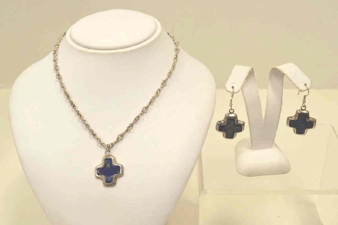 Sterling Silver Lapis necklace and earrings