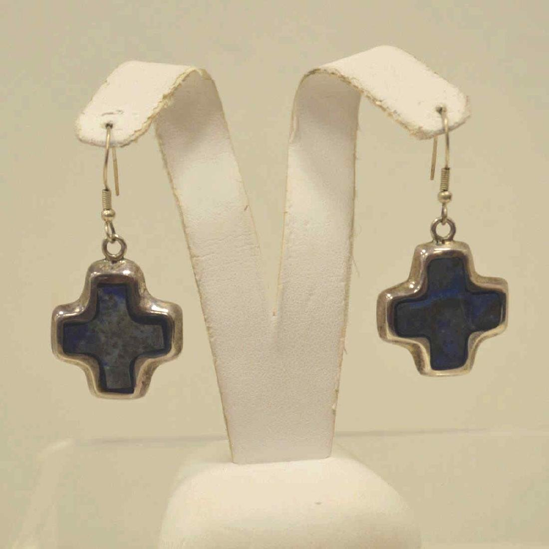 Sterling Silver Lapis necklace and earrings - 4