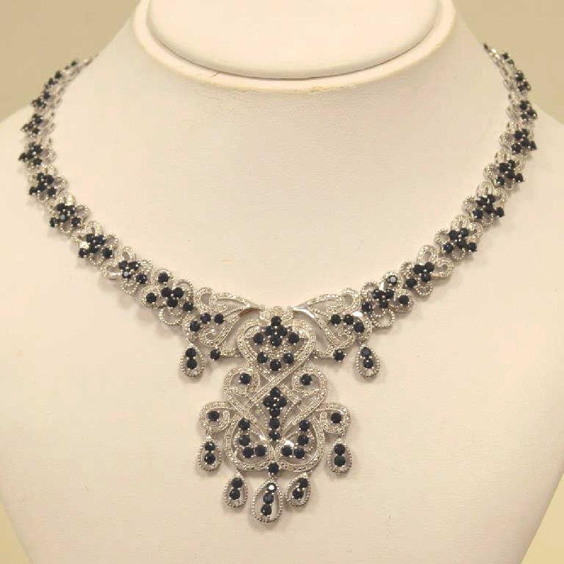 Sterling silver sapphire and diamond necklace