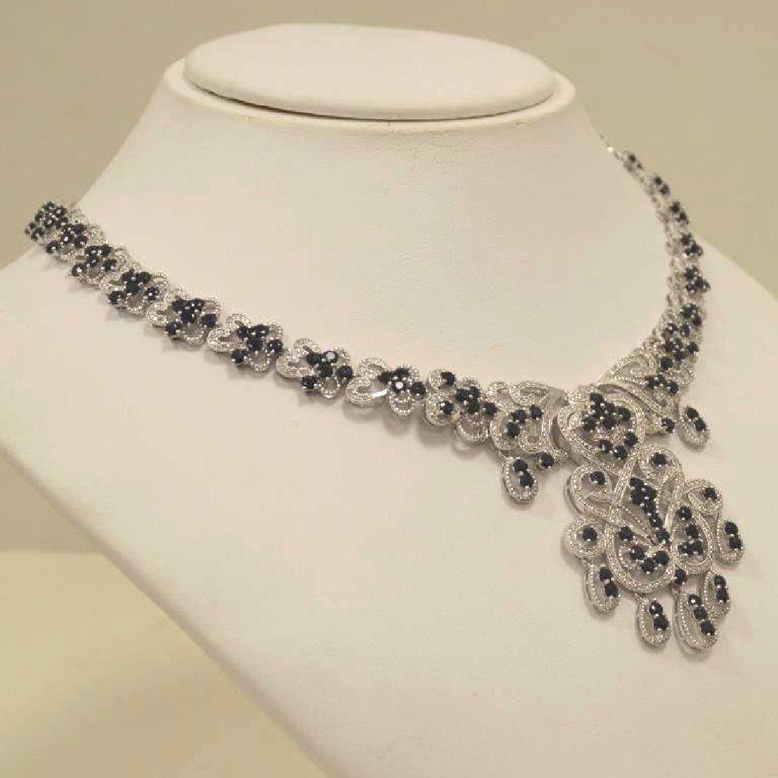 Sterling silver sapphire and diamond necklace - 3