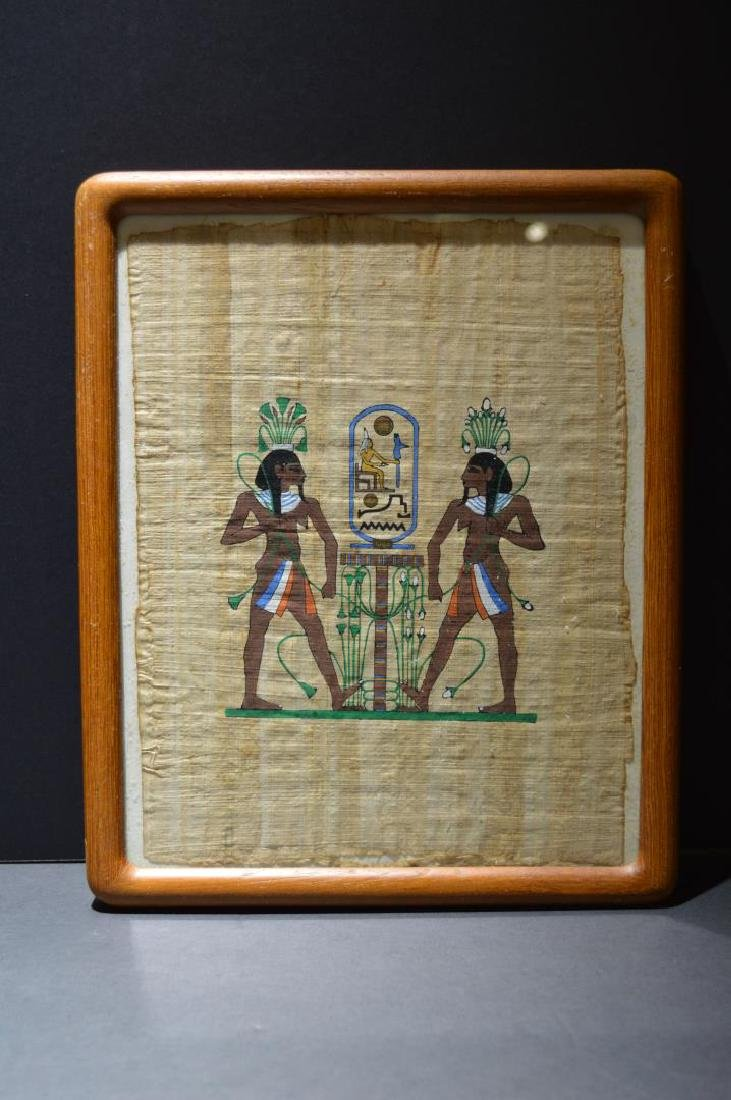 Framed Papyrus Paper Egyptian Art Hand Painted